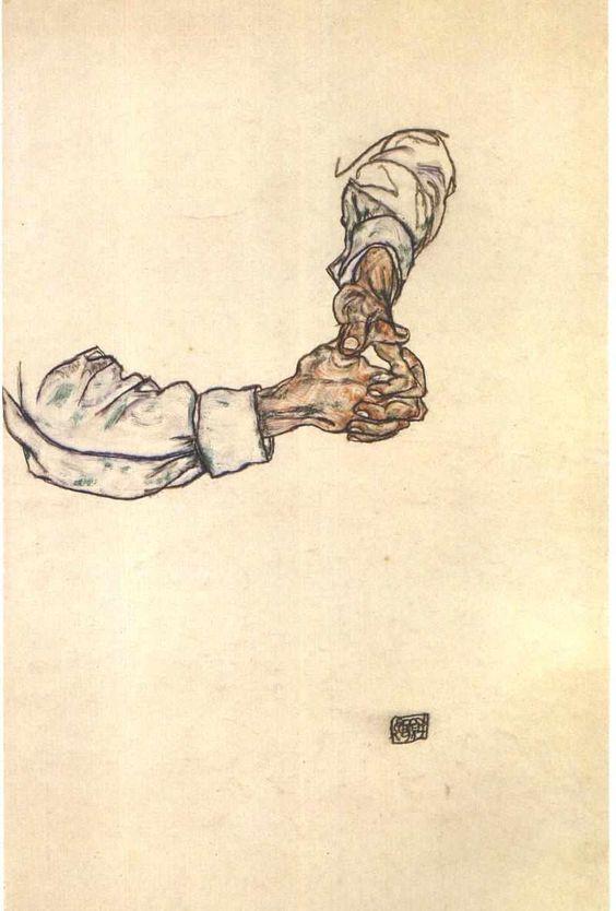 zitterberg:    Egon SchieleStudy of Hands (1913):