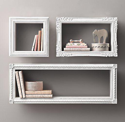 vintage inspired floating wood shelves | white antique nursery storage | neutral nursery decor | R&H Baby & Child - Quaint Shelving