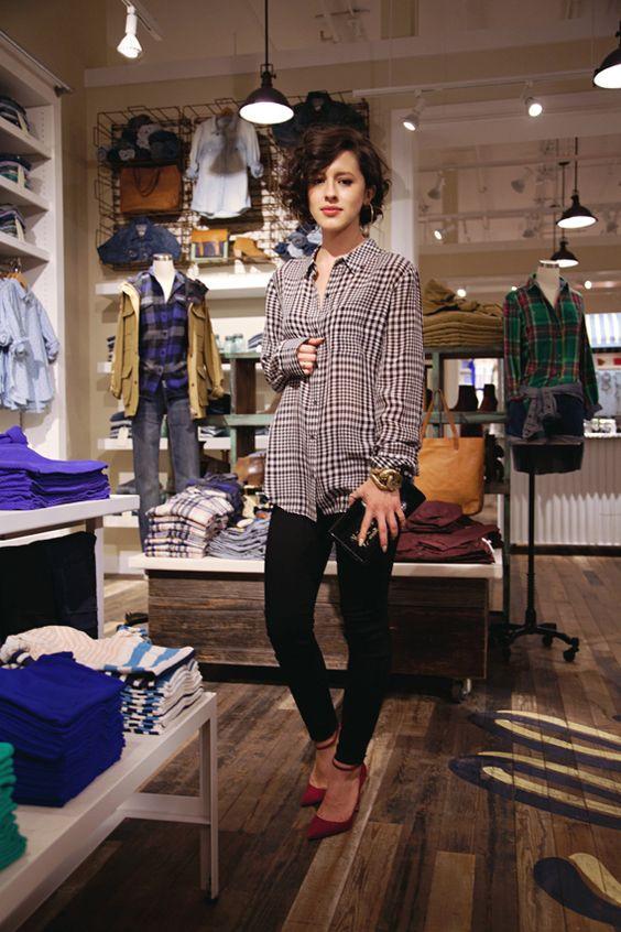 @Karla Deras - Madewell plaid silk shirt, the skinny skinnies, YSL clutch, and Manolo Blahnik ankle-strap pumps.