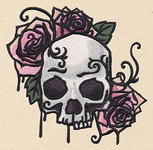 Painted Skull and Roses design (UT6369) from UrbanThreads.com