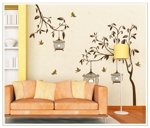 new design a psalm of life quote tree branch leaves and birdcage diy wall decal home decor sticker tree wall decals pinterest psalm of life