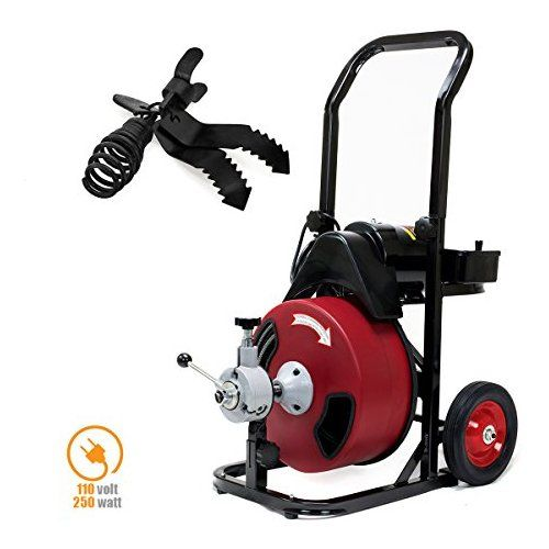 Xtremepowerus Commercial Sewer Snake Drill Drain Auger Cleaner 50 Ft Long 1 2 W 4 Cutter Foot Switch Limpeza
