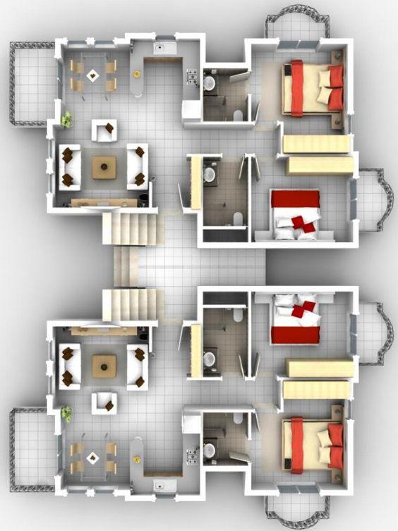 Plano dos departamentos plano complejo departamento for Edificios modernos de departamentos