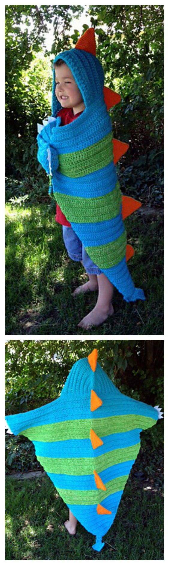 Absolutely Adorable Hooded Dragon Blanket Crochet Pattern:
