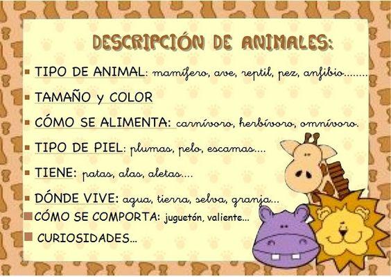Descripción de un animal: Las Descripciones, Animales Escuela, Materials, Describir Animales, Animal, Animales 1Ero, Of The, Lenguaje Las, Clasificación Animales