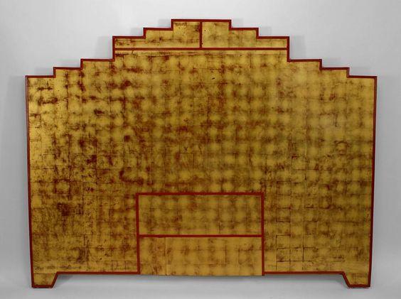 Gorgeous gold leaf deco headboard