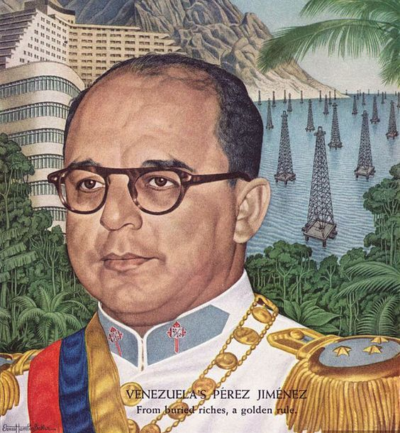 Venezuela's President, Colonel Marcos Perez Jimenez 1955 TIME cover art by Ernest Hamlin Baker