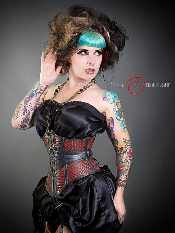 Fantasy woven leather underbust corset by JanesCorsets on Etsy, $275.00