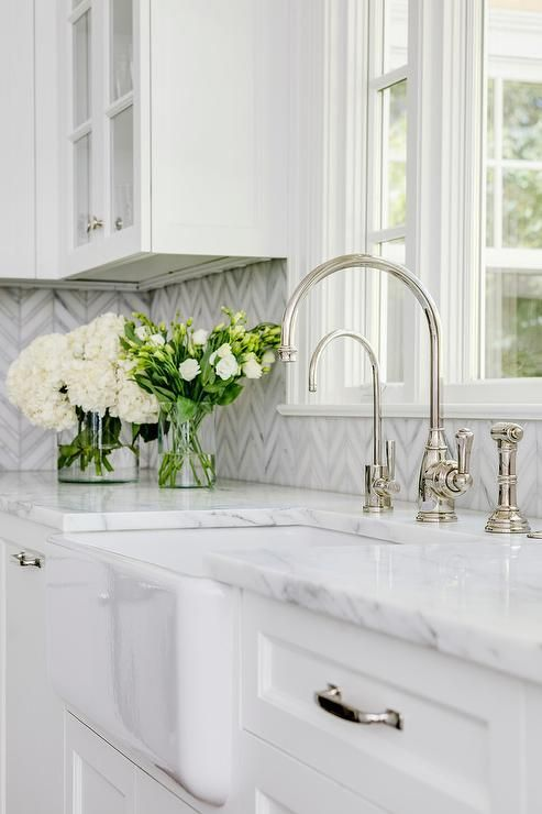 Farmhouse Sink With White And Gray Marble Counter Farmhouse Sink Kitchen Kitchen Countertop Colors Marble Countertops Kitchen