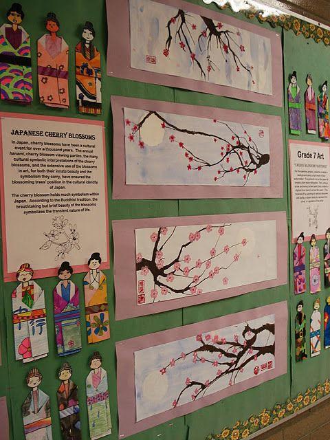 A Faithful Attempt Folded Paper Japanese Kimonos Elementary Art Projects Cherry Blossom Art Blossoms Art