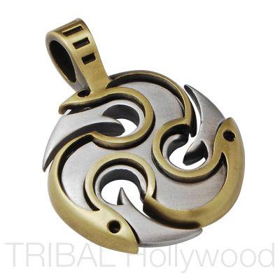 DIABLO TRIPLE YANG Fire Pendant in Brass and Silver - $38