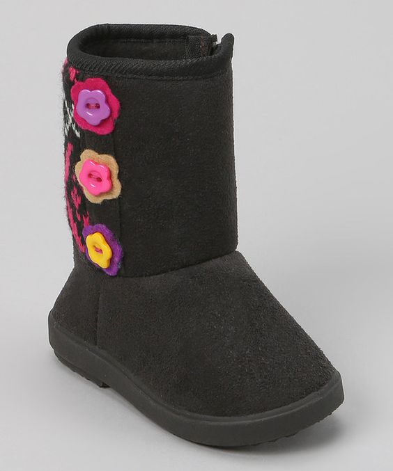 Look at this Shoe Box Trading Black Flower Button Boot on #zulily today!