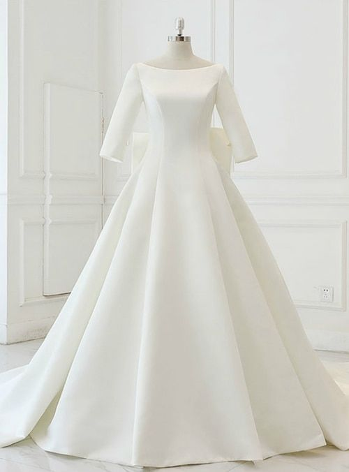 White Satin Backless 3 4 Sleeve Wedding Dress With Big Bow Wedding Dress Sleeves Wedding Dresses Satin A Line Wedding Dress