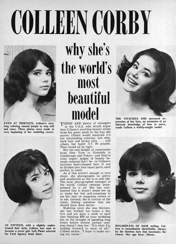 Colleen Corby Model | The World's Most Beautiful Model ( Tiger Beat - September 1965)