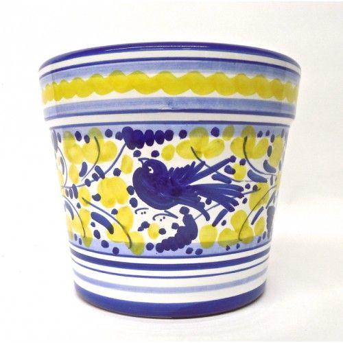 Arabesco Blue And Yellow Flower Pot Italian Ceramic Planter Pottery Cachepot Handmade In Deruta Umbria Italy Porcellana