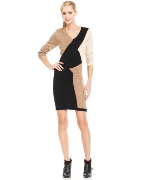 Ny Collection Petite Geometric Colorblock Sweater Dress