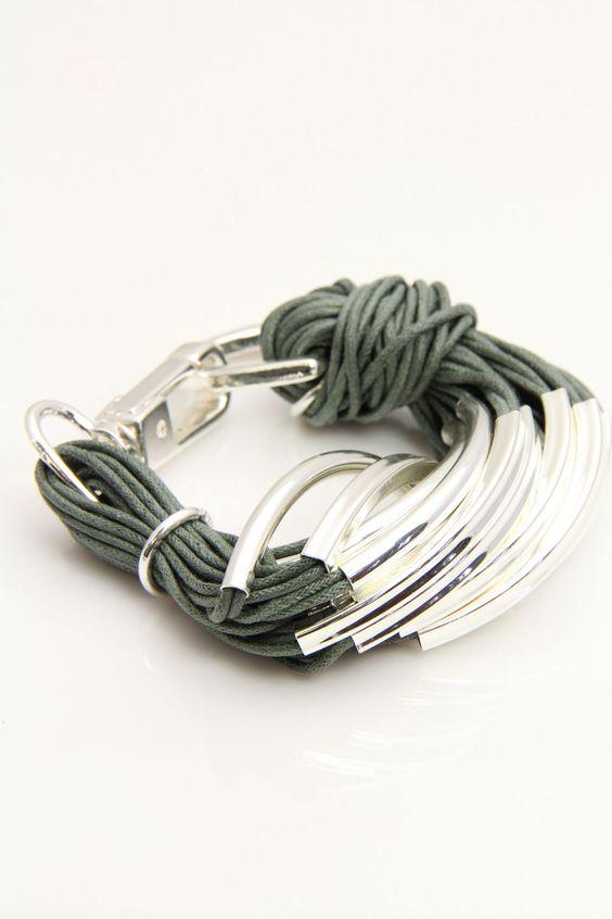 Silver Hardware String Bracelet In Gray
