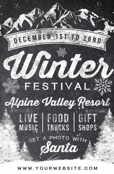 Chalk Winter Festival Flyer VERDERLAND Pinterest Festivals - winter flyer template