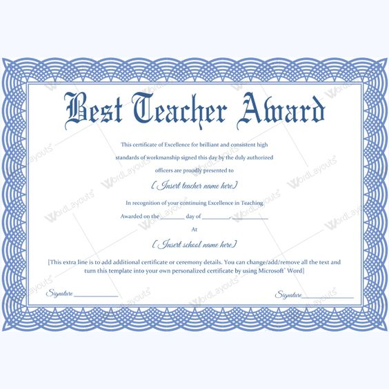 Best teacher award certificate templates 14 best teacher award certificate templates 14 pinterest yelopaper Images