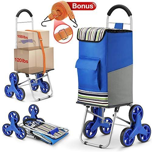 Moroccan Tile  Shopping Grocery Foldable Cart Condo Apartment dbest products Stair Climber Trolley Dolly 2