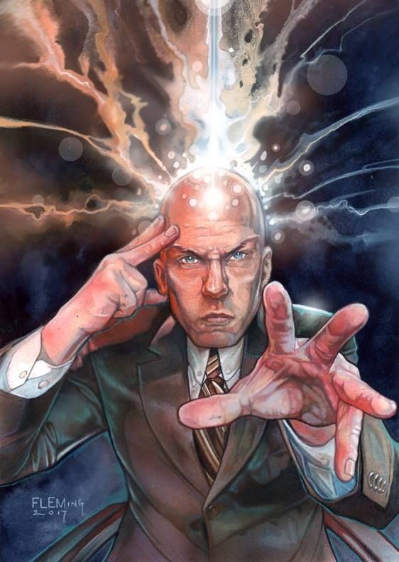 Professor X From The Art Of Tom Fleming Fleer Ultra X Men Para El Set 2018 Marvel Comics Art Marvel Cards Comic Art