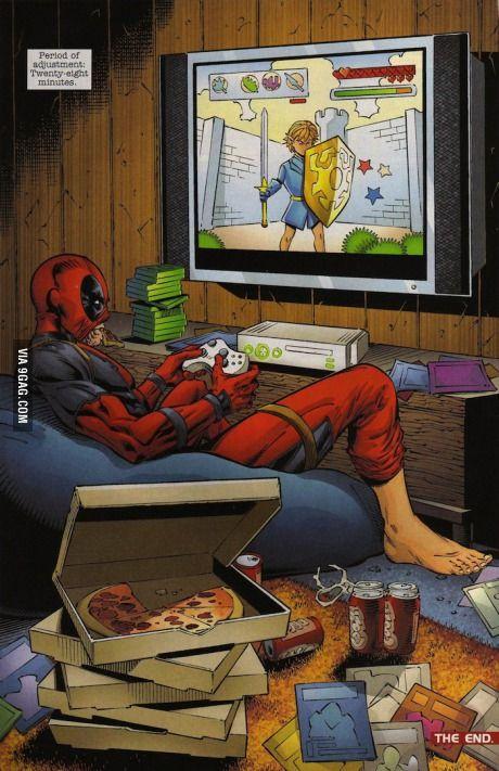 Deadpool plays Zelda on Xbox 360, he's also immortal
