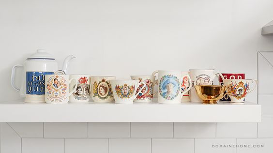 British royalty teacups // kitchens // open shelving