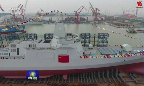 Type 055 destroyer at launching ceremony, 2017.