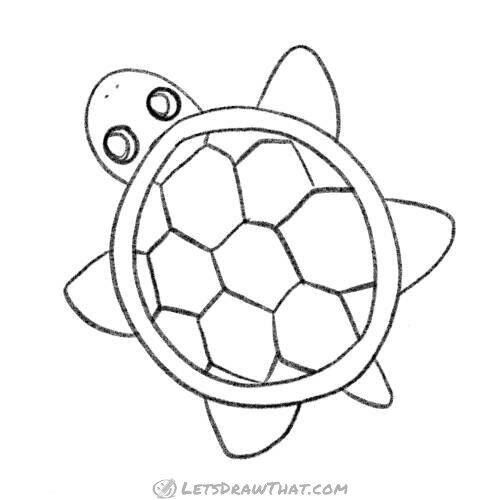 How To Draw An Easy Turtle Completed Pencil Outline Let S Draw That In 2020 Turtle Drawing Shell Drawing Drawings
