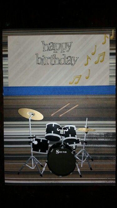 Male birthday card handmade. Drums music