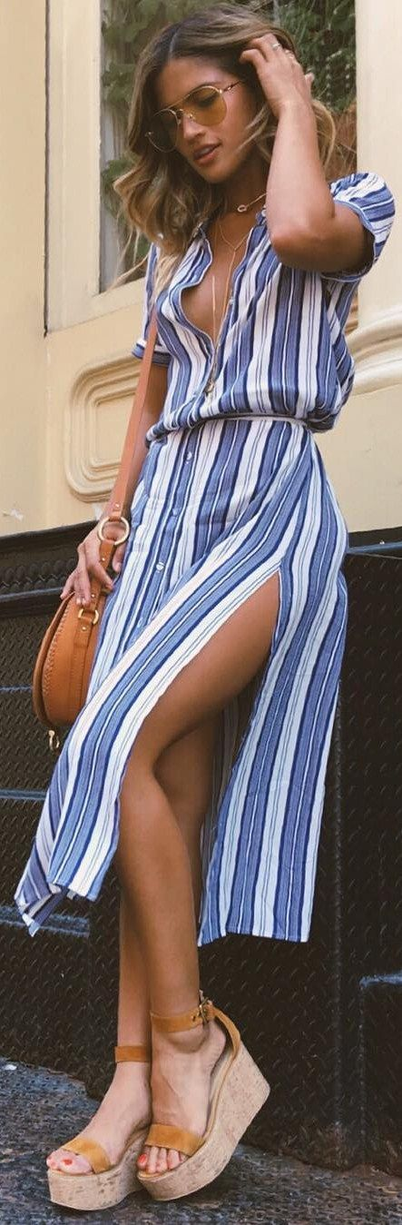 High Slit Shirt Dress by  lacademie_ // Fashion Trend by  @rocky_barnes
