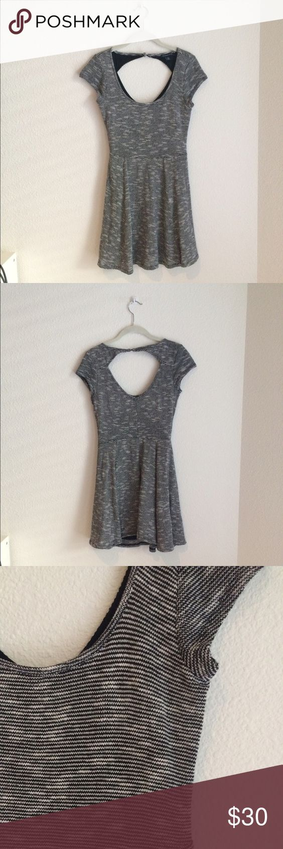 Textured Stretch Fit and Flare Dress Grey short sleeve dress with flared skirt and soft knitted texture American Eagle Outfitters Dresses Mini