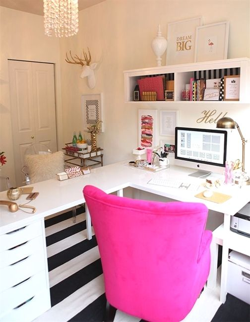 L Shape Desk Ikea Hack Gold White And Magenta Office Decor Officedesk Feminine Home Offices Home Office Decor Home Office Design