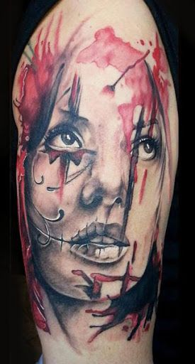 Abstract Face Tattoo by Miroslav Pridal