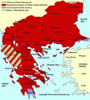 A Macedônia e sua área de influência quando da morte de Filipe II (336 a.C.). Sua ascensão se deu do domínio da Grécia (principalmente Atenas e Esparta), que viviam um momento de fraqueza e desunião. Felipe II preparou um poderoso exercito e conquistou esse território. A Macedônia tornou-se o centro do maior império formado, Alexandre Magno, seu imperador realizou grandes feitos, promoveu a fusão das diversas culturas da região conquista, que posteriormente deu origem a famosa cultura…
