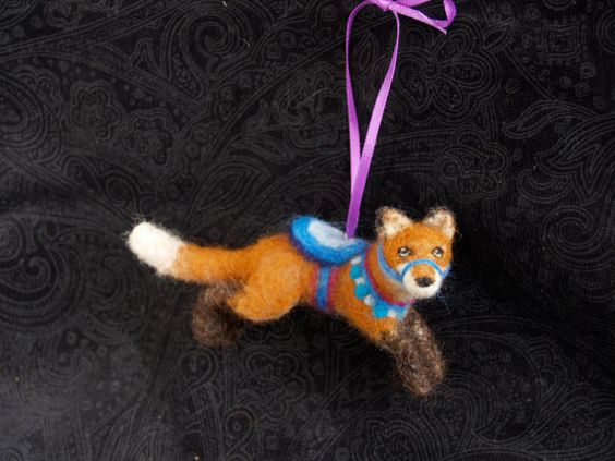 Jumping Fox Carousel Ornament Unique Needle by FeltedFuzzies, $75.00