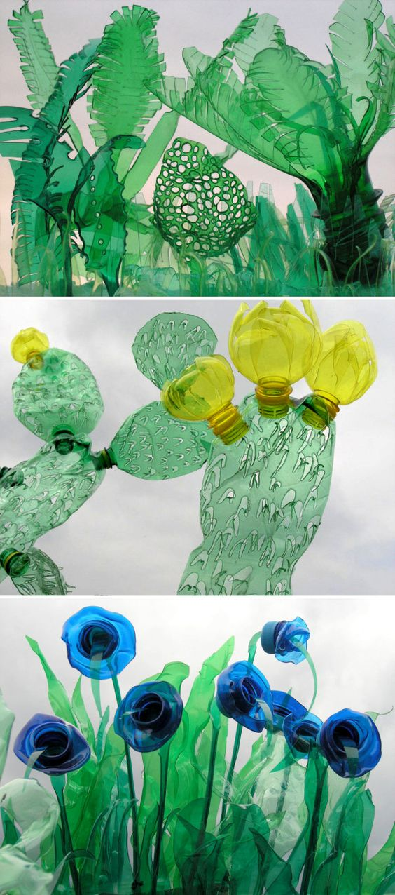 Plastic flessen hergebruikt and beeldhouwwerk on pinterest for Art made from plastic bottles