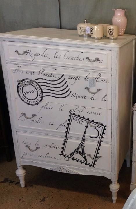 Dresser Paris love letter and postage by ChicTransformations, $350.00