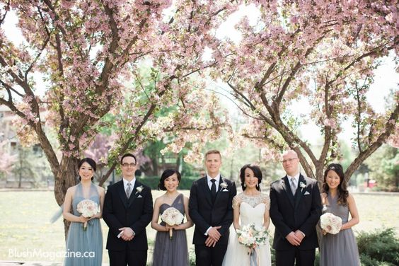 A Cinderella Waltz Wedding. Bridal Party, Cherry Blossoms