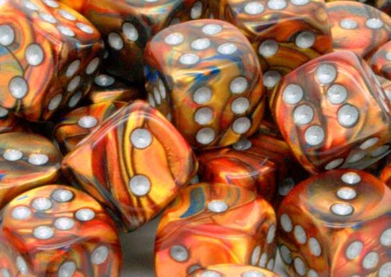 Chessex Dice - Lustrous - 12mm d6 with pips - Gold silver for �8.00 plus postage from thediceplace.com