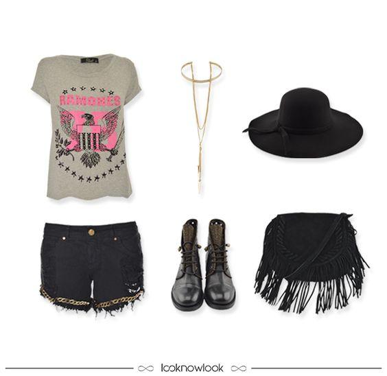 Festival de Música | Music Festival | T-shirt Ramones + Short Jeans Preto + Chapéu Floppy + Gargantilha Choker + Bolsa Franjas + Coturno #moda #look #outfit #looknowlook