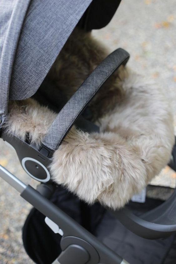 Keep baby cozy warm this season with the genuine ultra-soft Stokke Sheepskin Stroller Lining
