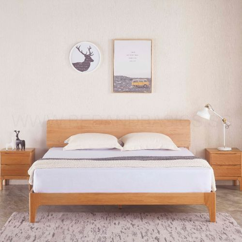 Nara American Oak Wood Bed Frame Bedandbasics Singapore Wood Bedroom Design Wood Bedroom Sets Wood Beds