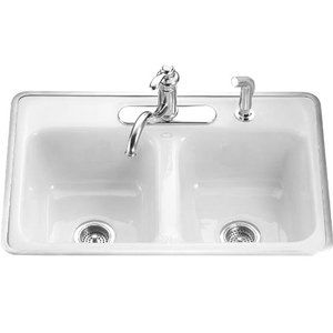 DelaField White/Color Double Bowl Kitchen Sink - White Kitchen ...