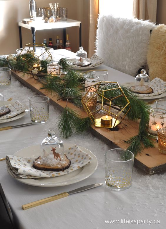 Rustic Snowy Table: Pretty rustic tablescape with lots of faux snow