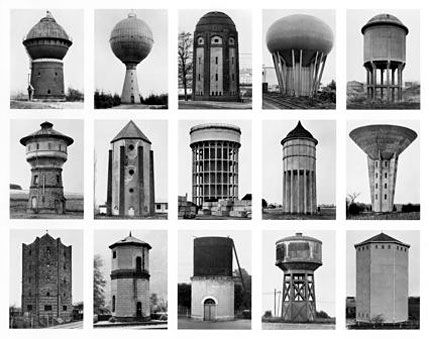 German photographer couple, Bernd & Hilla Becher's water tower series is fantastic. I love it when artists take something industrial & utilitarian and transform it to be so completely gorgeous. Plus there's a really nice graininess…something delightfully unrefined about these that a lot of modern photography just doesn't have these days. Also why don't American water towers look like this??