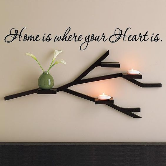 Wall Lettering Home Is Where Your Heart Is by VinylPhraseCraze. $8.99, via Etsy.