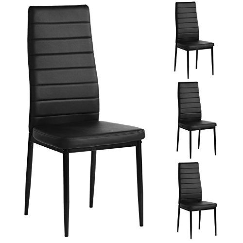 Aingoo Kitchen Chairs Set Of 4 Dining Chair Black With St Https