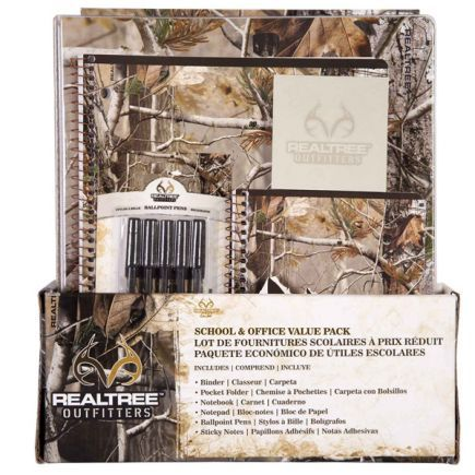 Realtree Outfitters™ AP camo School/Office Value Pack $19.95 -Includes a 3-Ring Binder, pocket folder, notebook, notepad, 5 Realtree ball point pens and a pack of sticky notes.