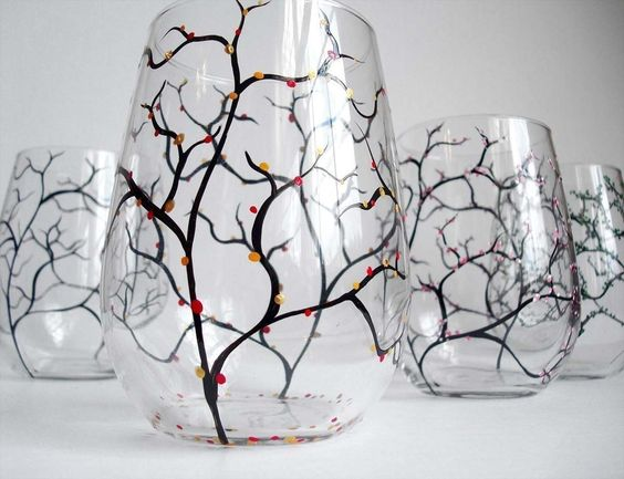 Four Seasons Stemless Wine Glasses--Set of 4 for $68.00 by Mary Elizabeth Arts